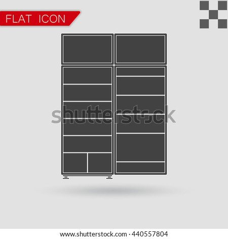Black refrigerator Icon vector Flat Style with red