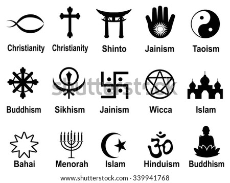 black religious symbols icons set - stock vector
