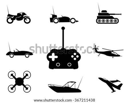 black remote control toy icons set - stock vector