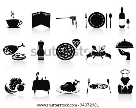 black restaurant icons set - stock vector
