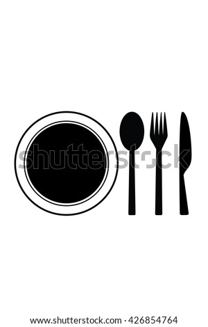 Black restaurant menu icon plate with cutlery spoon, fork, knife isolated