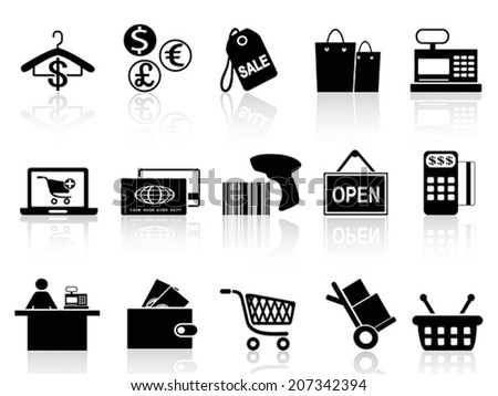 black retail and shopping icons set - stock vector
