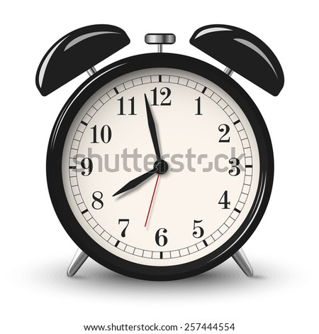 Black retro alarm clock isolated on white background - stock vector