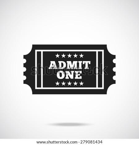 Black retro cinema ticket icon. Creative trendy vector illustration. - stock vector