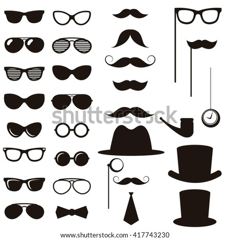 Black retro gentleman elements set - stock vector