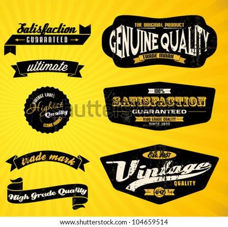 Black Retro labels. - stock vector