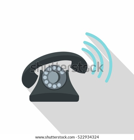 Black retro phone ringing icon. Flat illustration of vector icon for web isolated on white background