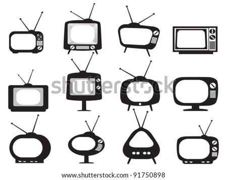 black retro tv icons set - stock vector