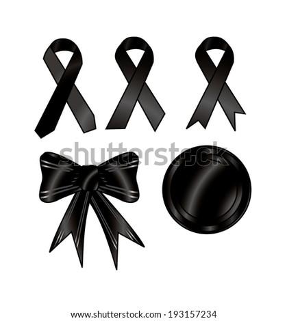 black ribbon vector art - stock vector