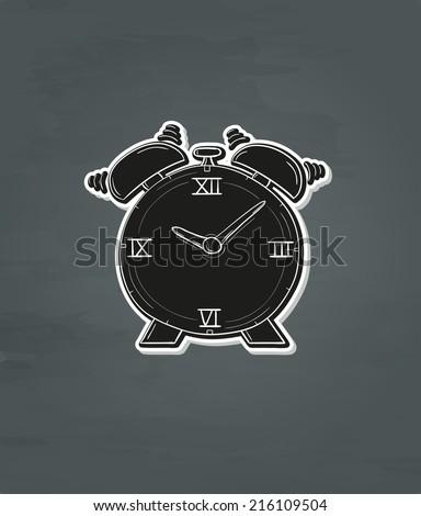 black ringing alarm clock on dark background - stock vector