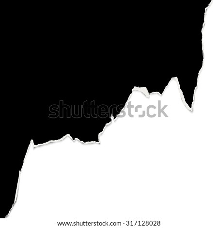 black ripped open paper edge with white background - stock vector