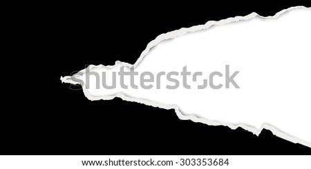 black ripped open paper with white background - stock vector