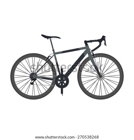 black road bike isolated on white background, flat style - stock vector