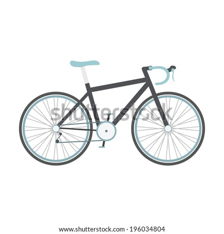 black road bike with blue seat isolated on white background, flat style - stock vector