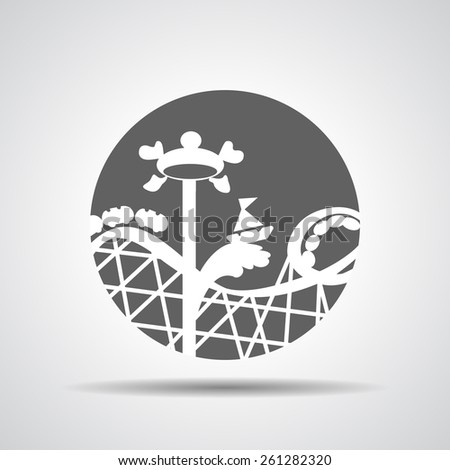 black roller coaster icon or amusement ride icon on a grey background - stock vector