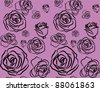 black rose on violet background seamless - stock vector