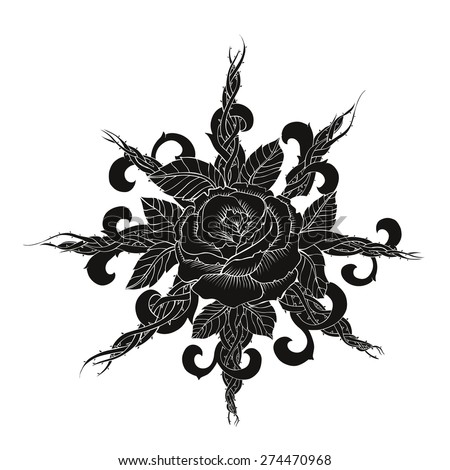 Black rose tattoo vector art - stock vector