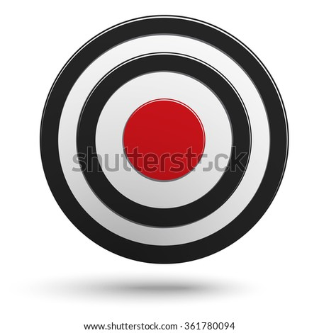 Black round darts target aim with red center isolated on white background - stock vector