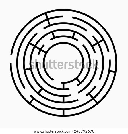Black round maze on a white background - stock vector