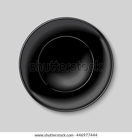 Black round plate isolated on white background - stock vector