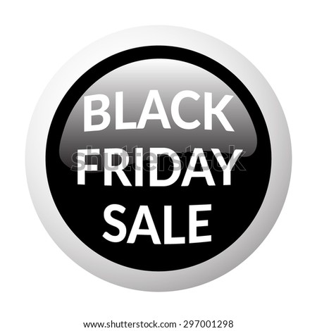 Black round sale button on white background. Volume discount button. Icon for black friday. Discount banner. Christmas sale. Glass effect. Vector illustration - stock vector