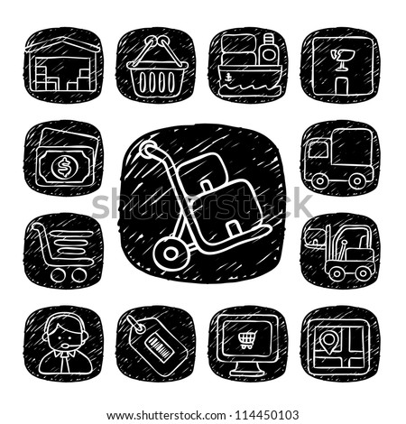 Black Round Series| doodle delivery,communication  icon set