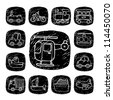 Black Round Series| doodle transportation ,traffic  icon set - stock vector