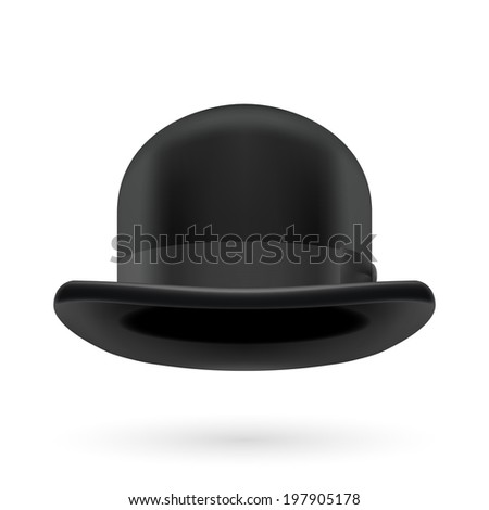 Black round traditional hat with hatband on white background. - stock vector