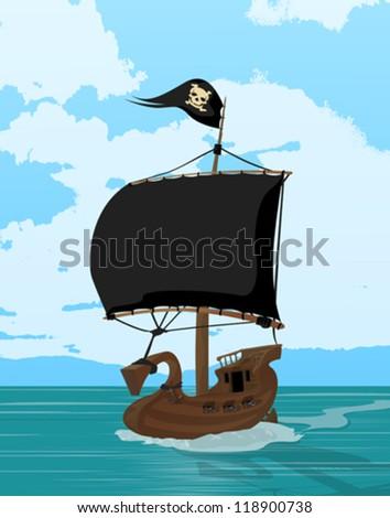 Black sails pirate ship, cartoon art illustration - stock vector