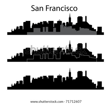 Black San Francisco silhouette on white background