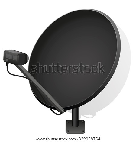 Black satellite dish to receive signals for television, radio, internet. Isolated vector illustration over white background. - stock vector