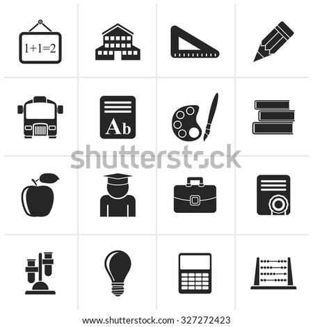 Black school and education icons - vector icon set