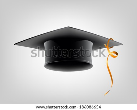 Black school cap with golden ribbon. Vector