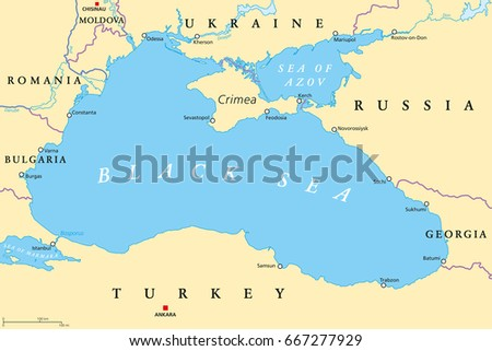 Black sea sea azov region political stock vector 667277929 black sea and sea of azov region political map with capitals most important cities gumiabroncs Gallery