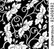 black seamless background with curly white flowers - stock vector