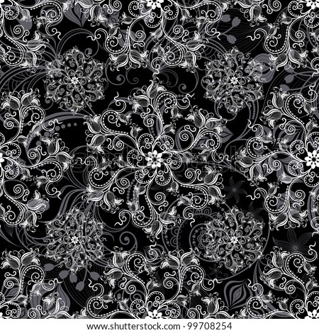 Black seamless background with round white floral pattern (vector) - stock vector