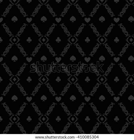 Black seamless casino gambling poker background or damask pattern and cards symbols. Seamless pattern is in the swatches palette. Casino gambling games background vector illustration - stock vector