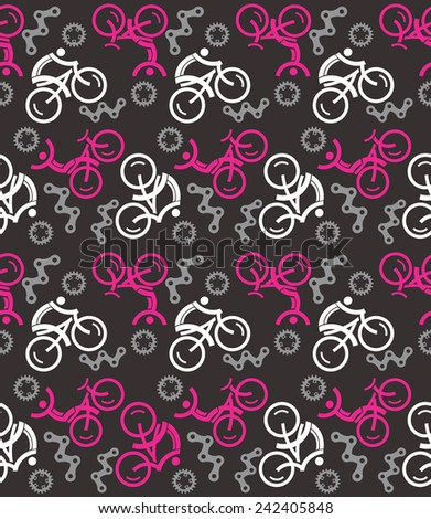 Black Seamless cycling pattern. Black Seamless cycling pattern with cycling icons. Vector illustration.    - stock vector