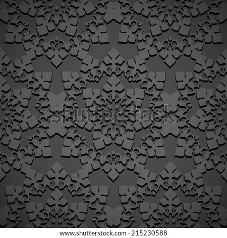 Black seamless embossed pattern of gothic rosette or oriental ornament - stock vector