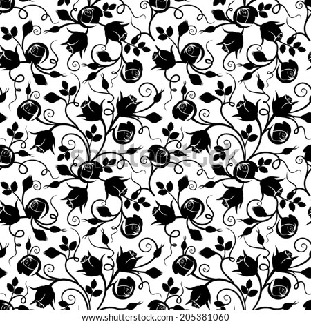 Black seamless floral pattern with rose buds on white. Vector illustration. - stock vector
