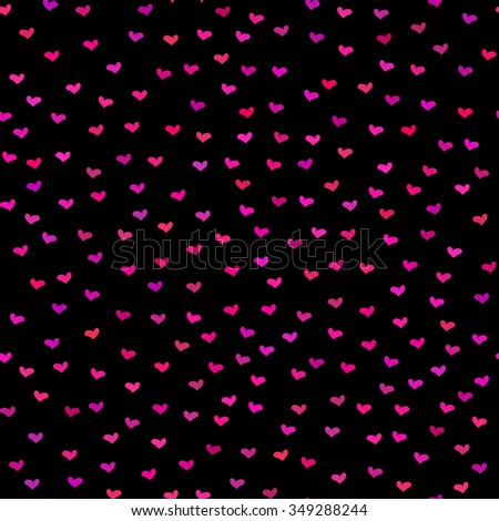 Black seamless pattern. Tiny red and pink hearts. Abstract repeating. Cute backdrop. Dark background. Template for Valentine's, Mother's Day, wedding, scrapbook, surface textures. Vector illustration. - stock vector