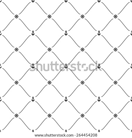 Black seamless pattern with anchor & ship wheel symbols, 10eps. - stock vector