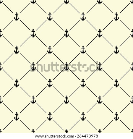 Black seamless pattern with anchor symbol on beige, 10eps. - stock vector