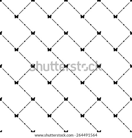 Black seamless pattern with butterfly symbol on white, vector, 10eps. - stock vector