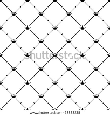 Black seamless pattern with crown symbol, 10eps.