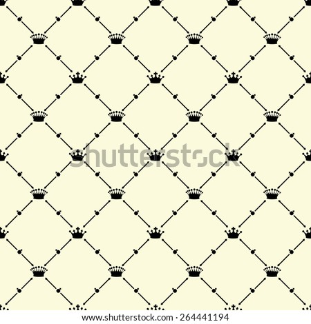 Black seamless pattern with crown symbol on beige, 10eps.