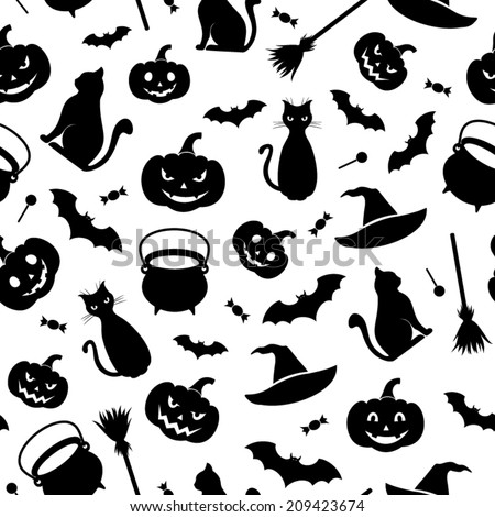 Black seamless pattern with Halloween symbols on a white background. Vector illustration. - stock vector