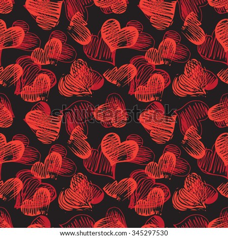Black seamless pattern with hand drawn heart shapes