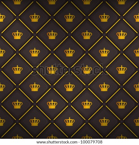 Black seamless pattern with king crown symbol, 10eps.