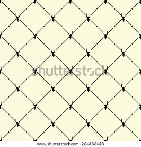 Black seamless pattern with monkey symbol on beige, vector, 10eps. - stock vector